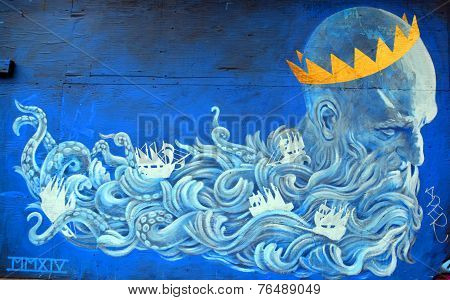 Street art Montreal god of sea