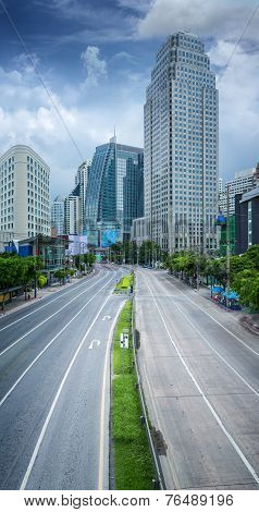 Bangkok City Day Time With Main Traffic High Way