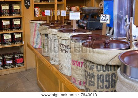 Bins Lined Up In A Shop Selling Speciality Coffee Beans