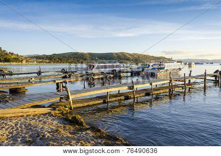Port in Copacabana, Titicaca Lake, Bolivia