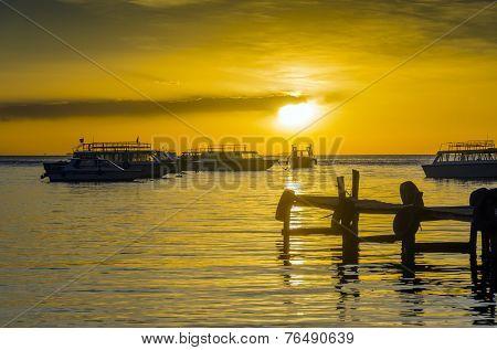 sunset in port in Copacabana, Titicaca Lake, Bolivia
