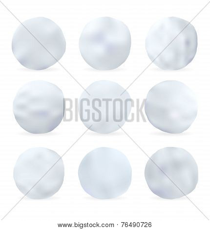 Set of snowballs isolated on white background