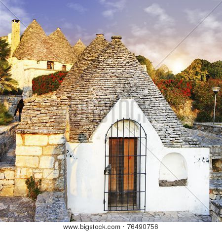 pretty trulli houses in  Alberobello, Puglia, Italy