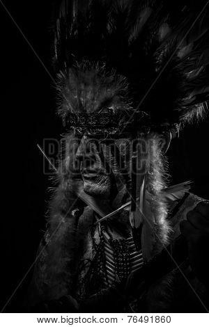 Native, American Indian chief with big feather headdress