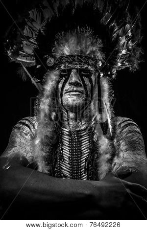 warrior Native, American Indian chief with big feather headdress