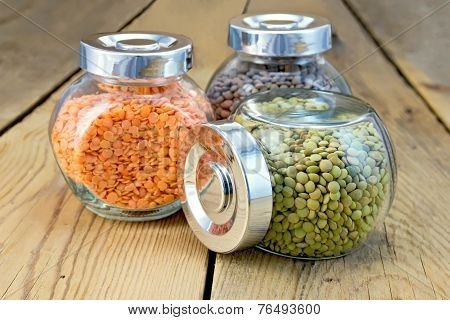 Lentils are different in three banks on board