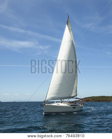 Beautiful sailboat on the Sea. Luxury yacht.