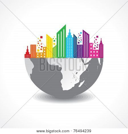 Colorful cityscape on half earth