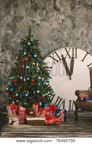 New Year's And Christmas Interior With Hours