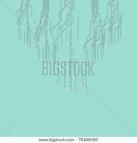 Flat minimal cyan circuit board tech background. Vector design