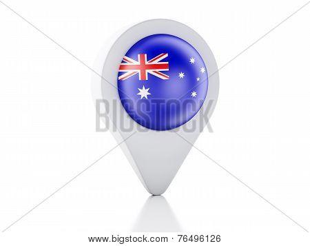 3D Map Pointer Australia Flag Icon On White Background