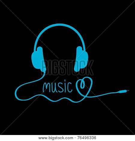 Blue Headphones With Cord And Word Music. Black Background. Love
