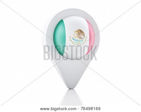 3D Map Pointer Mexico Flag Icon On White Background
