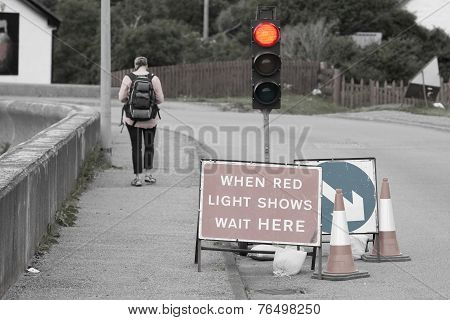Emergency Traffic Light With Sign