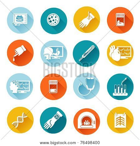 Medical tests icons flat