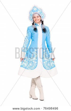 Young Brunette In A Suit Of Snow Maiden