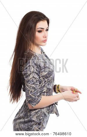 Portrait Of Pensive Brunette