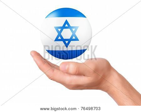 Hand Hold Israel Flag Icon On White Bakground
