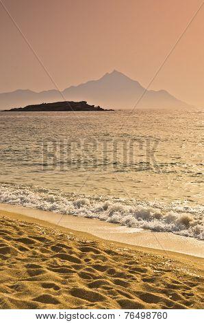Sunrise at the beach near holy mountain Athos, Chalkidiki