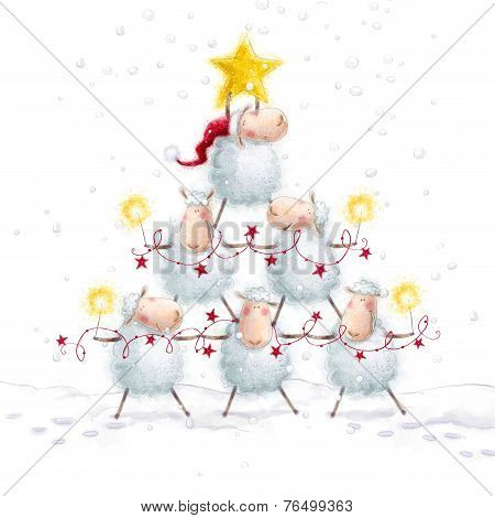 Christmas sheep.Christmas Tree with Star made of cute sheep.New Year greeting cards.