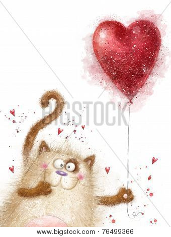 Love. Cute cat with red heart.Cat in love.Valentines day postcard.Love background