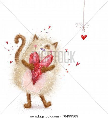 Love. Cute cat with red heart.Cat in love.Valentines day postcard.Love background.