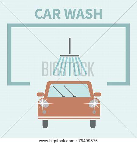 Flat Car wash icon