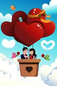 picture of hot couple  - A vector illustration of romantic young couple riding a hot air balloon for valentine day concept - JPG