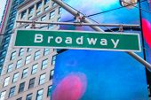 image of broadway  - Street sign on Broadway on bright day - JPG