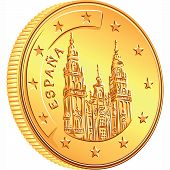 stock photo of spanish money  - gold money Spanish coin euro with Cathedral of Santiago de Komposetela - JPG
