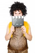 image of hirsutes  - Cave man with movie board isolated on white - JPG