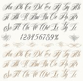 stock photo of calligraphy  - Handmade vector calligraphy tattoo alphabet with numbers - JPG