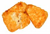 picture of hash  - Pile of cooked potato hash browns isolated on a white background - JPG