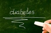 image of diabetes symptoms  - Diabetes concept handwritten with chalk on a blackboard  - JPG