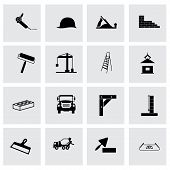 pic of skid-steer  - Vector construction icon set on grey background - JPG