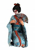 foto of geisha  - 3D digital render of a beautiful geisha wearing traditional clothes isolated on white background - JPG
