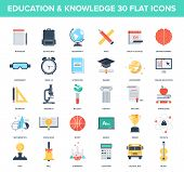 picture of time study  - Abstract vector set of colorful flat education and knowledge icons - JPG