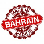 image of bahrain  - made in Bahrain red stamp isolated on white background - JPG