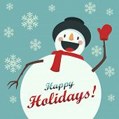 picture of snowman  - Happy Snowman greets you - JPG