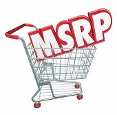 stock photo of clientele  - MSRP 3d red letters abbreviation in a shopping cart to illustrate manufacturer - JPG