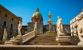 stock photo of piazza  - Low angle view of Piazza Pretoria or Piazza della Vergogna Palermo Sicily Italy - JPG