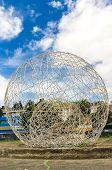 stock photo of metal sculpture  - big metal sphere sculpture in El Arbolito park Quito Ecuador South America - JPG
