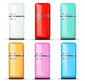pic of refrigerator  - Set of Retro Fridge refrigerator in white color - JPG