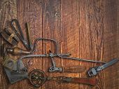 pic of work bench  - vintage jeweler tools  over wooden working bench - JPG