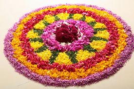 picture of pookolam  - flower rangoli decoration for Onam in Kerala - JPG