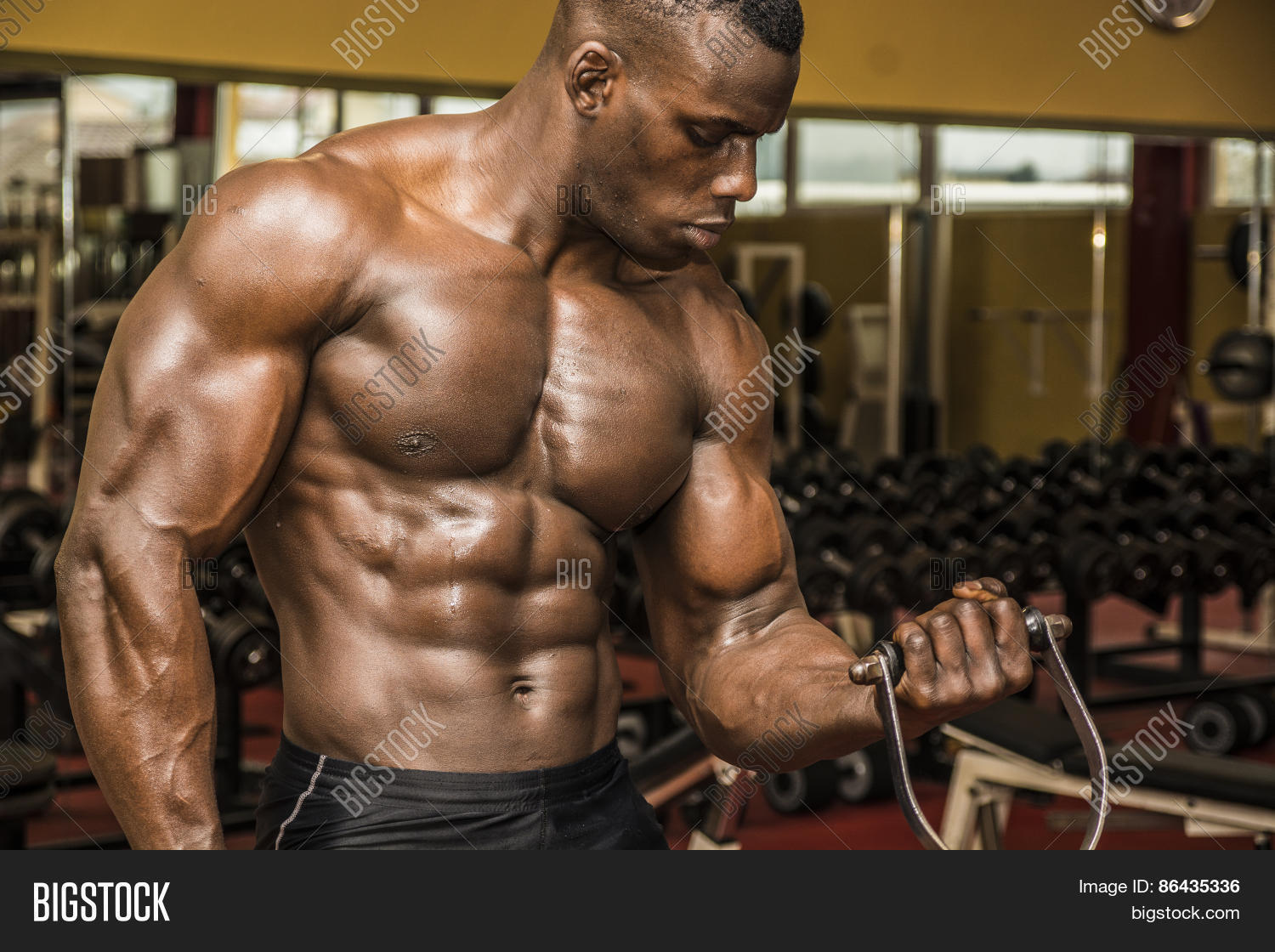 Hunky Muscular Black Bodybuilder Image & Photo | Bigstock