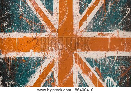 Painted Concrete Wall With Faded Graffiti Of British Flag. Grunge And Vintage Flag Of United Kingdom
