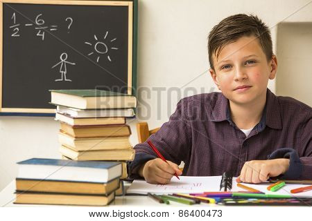 Studious schoolboy doing homework.