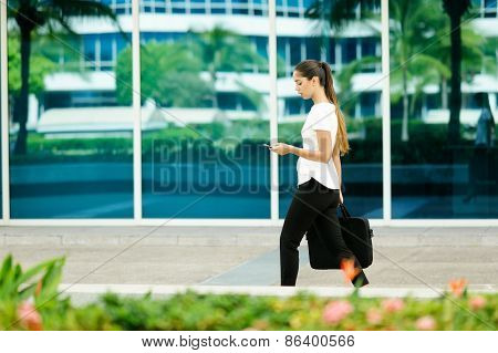 Business Woman Female Commuter Walking Office Texting On Phone
