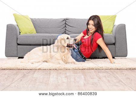 Young woman sitting on the floor next to a gray sofa with a Labrador retriever dog isolated on white background